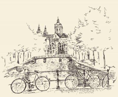 Plakat Ilustracja Amsterdam vintage grawerowane ręcznie rysowane