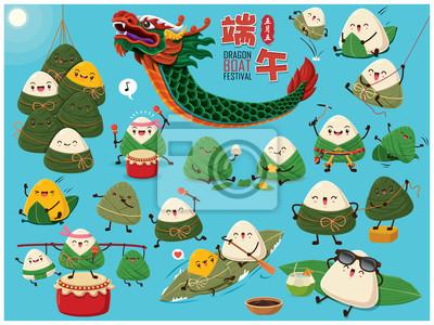 Ilustracja Dragon Boat Festival. (Podpis: festiwal Dragon Boat, 5 dzień maja)