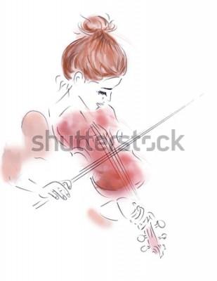 Plakat Ilustracja dziewczyna gra na skrzypcach