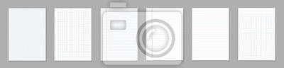 Plakat Ilustracja kreatywnych wektor realistyczny kwadrat, wyłożone arkusze papieru puste zestaw na białym tle na przezroczystym tle. Art design lines, notatnik strony siatki z marginesem. Element graficzny