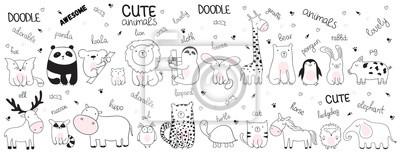 Plakat Ilustracja kreskówka szkic wektor zbiory zwierząt ładny