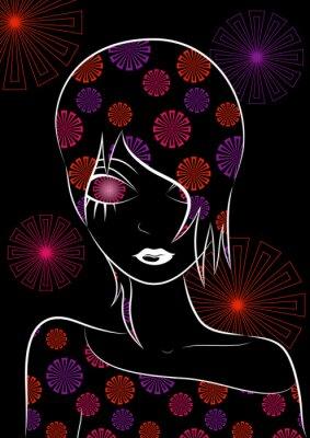 Plakat Ilustracja kwiatu dziewczyna