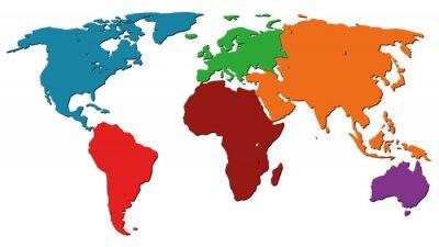 Plakat Ilustracja Mapa świata wektor graficzny kolorowy