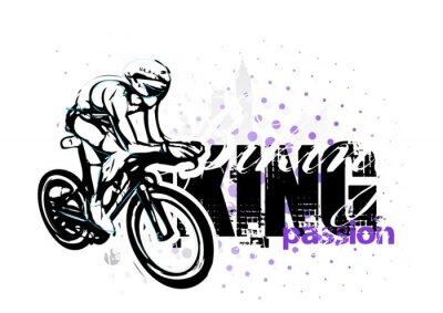 Plakat Ilustracja na rowerze na tle grungy