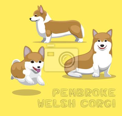 Plakat Ilustracja Pies Pembroke Welsh Corgi Cartoon wektor