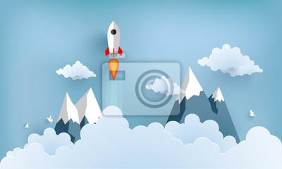 Plakat ilustracja rakieta latające nad chmurą. piękna sceneria z białymi chmurami