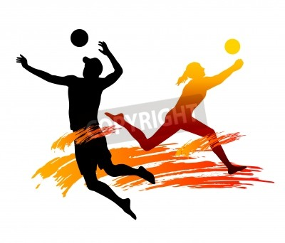 Plakat Ilustracja siatkówki plażowej gracz z elementów
