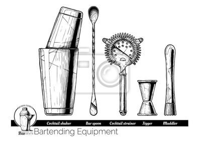 Plakat ilustracja sprzętu barmańskiego