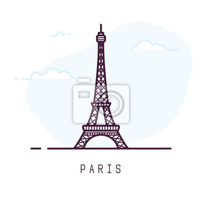 Plakat Ilustracja styl linii Paryż miasto. Sławna wieża eifla w Paryż, Francja. Architektura miasta symbol Francji. Zarys budynku ilustracji wektorowych. Niebo chmury na tle. Sztandar podróży i turystyki.