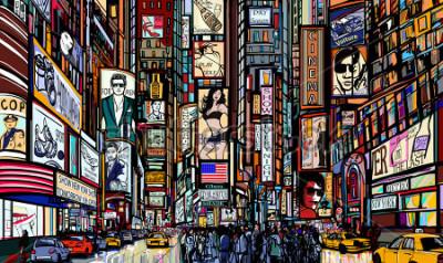 Plakat Ilustracja ulicy w Nowym Jorku - razy kwadrat - ilustracji wektorowych