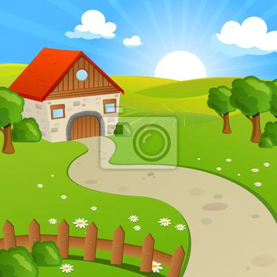 Ilustracja wektora krajobrazu wiejskiego z pola i wzgórza