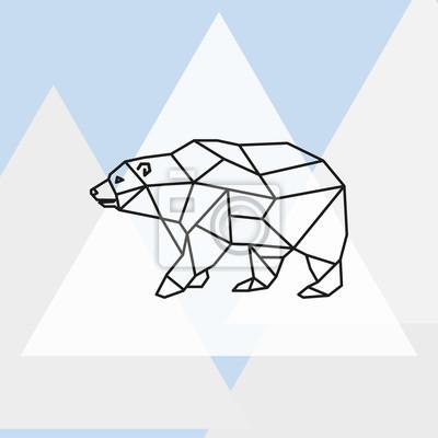 Ilustracja wektora Polar Bear stylizowane trójk? Tny wzór.