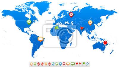 Plakat Ilustracja wektorowa mapa świata i nawigacji ikon