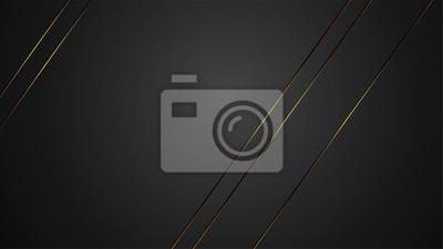 Plakat Ilustracja wektorowa transparent luksusowych czarne tło z złota pasek art deco linii na baner
