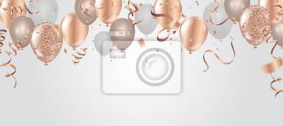 Plakat Ilustracja wektorowa wszystkiego najlepszego z okazji urodzin. Konfetti i wstążki złoty pomarańczowy balon, konfetti, szablon projektu na urodziny. sztuka