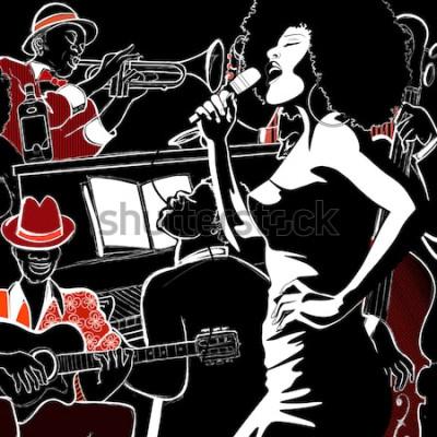 Plakat Ilustracja wektorowa zespołu jazzowego z kontrabasem - trąbka - fortepian