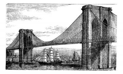 Plakat Ilustracja z Brooklyn Bridge i East River, Nowy Jork, Stany