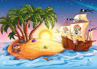 Plakat Ilustracja z wyspy skarbów i statek piracki