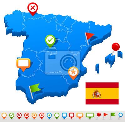 Plakat Ilustracji wektorowych Hiszpania map i nawigacji ikon