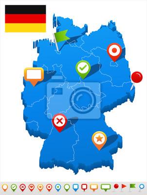 Plakat Ilustracji wektorowych map i nawigacji Niemcy ikony.