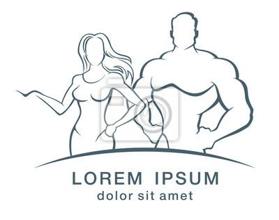 Ilustracji wektorowych Muscleman i kobieta fitness