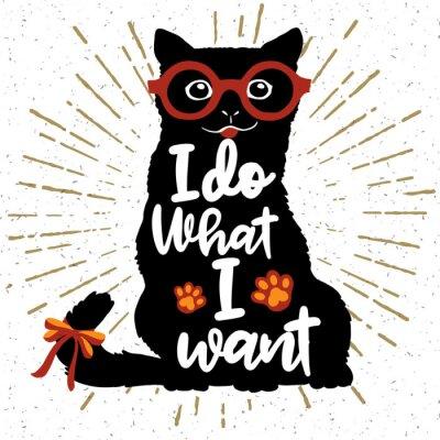 Plakat Ilustracji wektorowych. Vintage plakat typograficzny z stylowym Cat w okularach przeciwsłonecznych.