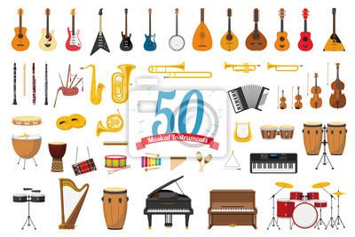Plakat Ilustracji wektorowych zestaw 50 instrumentów muzycznych w stylu kreskówki na białym tle