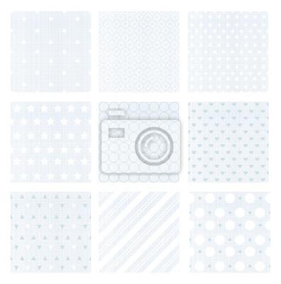 Plakat Ilustracji wektorowych zestaw dziewięciu delikatne wyblakłe niebieskie retro bez szwu wzorów na tle bielizny.