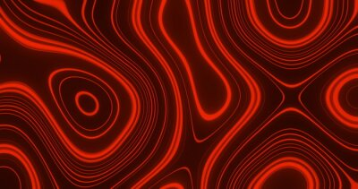 Plakat Image of multiple red glowing liquid shapes waving swirling and flowing smoothly