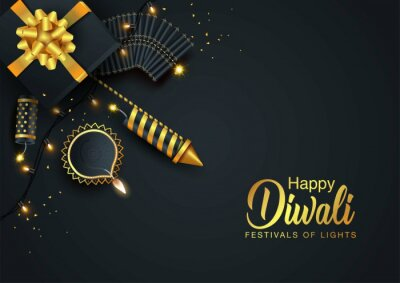 Plakat Indian festival Happy Diwali with Diwali props, holiday Background, Diwali celebration greeting card, vector illustration design.