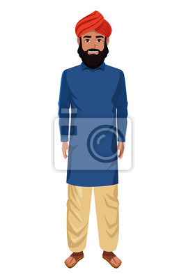 Plakat indian man wearing traditional hindu clothes