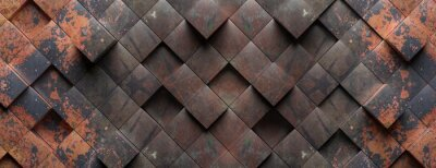 Plakat Industrial metal rusty background texture, Cube shape elements pattern. 3d illustration