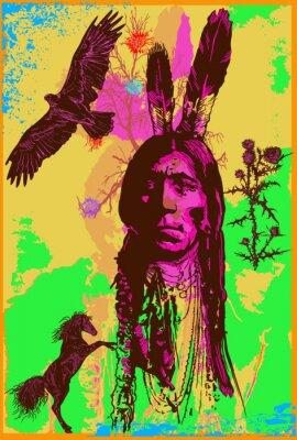 Plakat Indyjski Wojownik, Sitting Bull portret - odręczny szkic, wektor