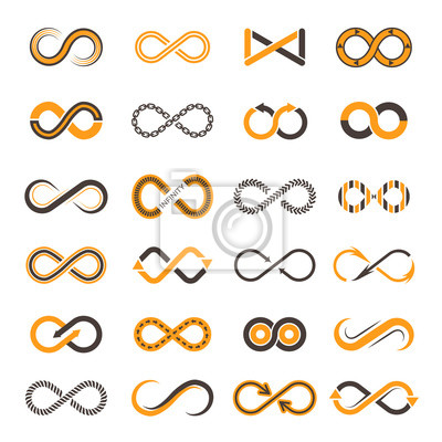 Plakat Infinity icons. Contouring shapes of eternity vector two-color symbols. Illustration of infinity and eternity figure, dynamic chain continual