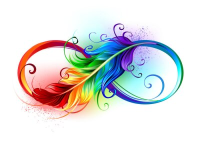 Plakat Infinity symbol with rainbow feather