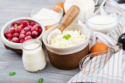 Ingredients for the preparation of cottage cheese casserole with cherries. Tasty breakfast