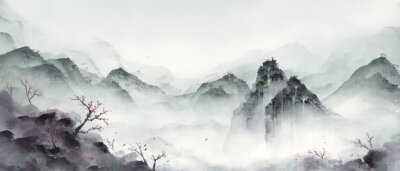 Plakat Ink landscape painting in winter.Eastern traditional painting