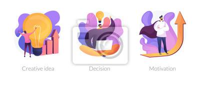 Plakat Innovative business strategy icons set. Brainstorm, problem solution development, personal growth. Creative idea, decision, motivation metaphors. Vector isolated concept metaphor illustrations