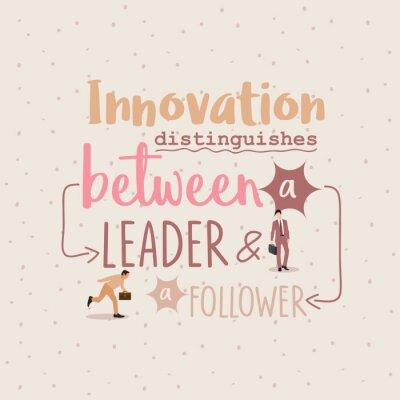 Plakat Innowacje rozróżniają między biznesmenami lidera ang