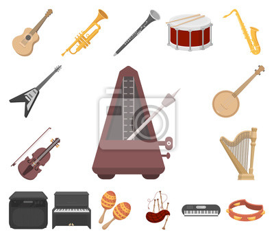 Plakat Instrument muzyczny kreskówka ikony w zestaw kolekcji dla projektu. Sznurek i wiatr instrument wektor symbol Stockowa ilustracja wektorowa