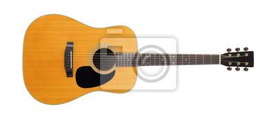 Plakat Instrument muzyczny - widok z przodu klasycznej gitary akustycznej w stylu vintage. Odosobniony