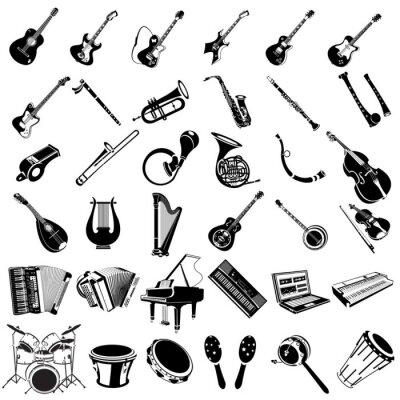Plakat instrumentów muzycznych czarne ikony