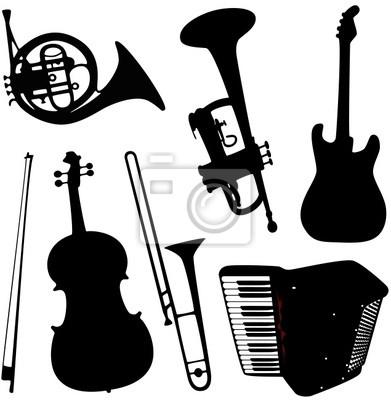 Plakat Instrumenty Muzyczne Na Wymiar Czarny Piękno Rozrywka