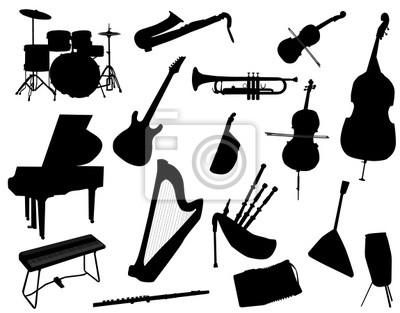 Plakat Instrumenty Muzyczne Na Wymiar Czarny Sztuka Tło Redropl