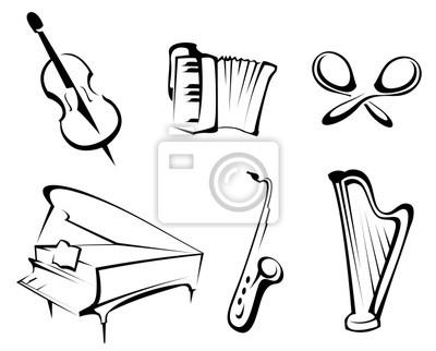 Plakat Instrumenty Muzyczne Na Wymiar Czarny Sztuka Klasyczny
