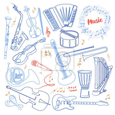 Plakat Instrumenty muzyczne ciągłe rysowanie kolorami jednej linii