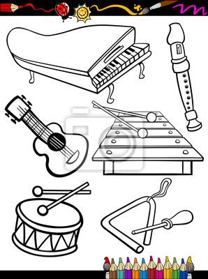 Plakat Instrumenty Muzyczne Kreskówki Strona Kolorystyka Na Wymiar