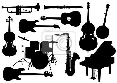 Plakat Instrumenty muzyczne sylwetki wektorowych