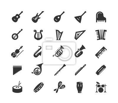 Plakat Instrumenty muzyczne wektor ikona w stylu glifów