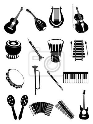 Plakat Instrumenty muzyczne zestaw ikon